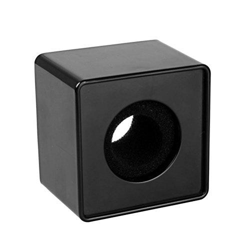 WINOMO la estación portátil ABS Inyección Moldeo cuadrado cubo forma Entrevue Mic Micrófono Logo bandera Logo (Black)