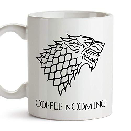 TusPersonalizables Taza Parodia de Juego de Tronos - Game of Thrones Mug - Coffee is Coming - Escudo de la casa Stark