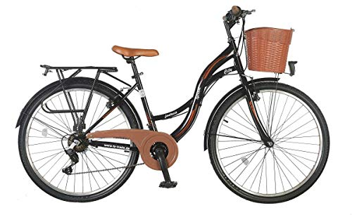 26 Zoll Kinderfahrrad Kinder Mädchen City Damen Fahrrad Mädchenfahrrad Damenfahrrad Cityfahrrad Rad Bike Citybike Shimano 21 Gang STVO Beleuchtung Fantasia Schwarz Braun TY2021