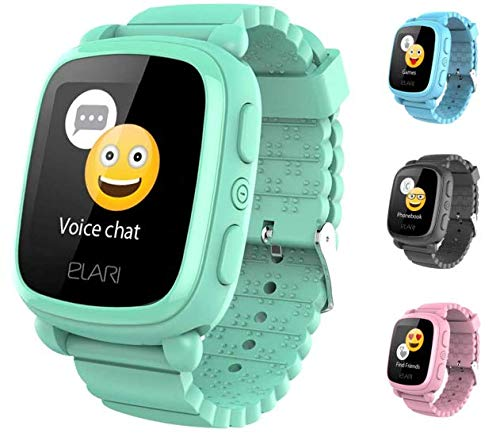 2G Reloj Inteligente Niño y Niña GPS Localizador y Llamadas Bidireccionales Audio, Chat de Voz, Botón SOS, Pantalla Táctil Grande y Brillante, Juegos - ELARI KidPhone 2 (Verde)