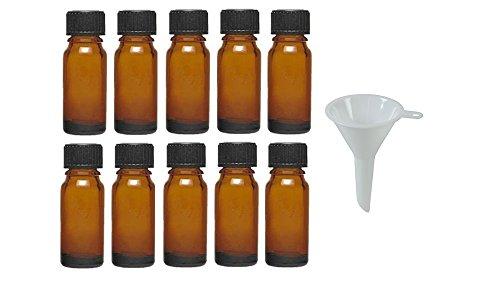 Viva Haushaltswaren - 10 x Tropfflasche 10 ml, Mini Glasflaschen mit Tropfeinsatz aus Braunglas, als Apothekerflasche verwendbar - Made in Germany & BPA frei (inkl. Trichter Ø 5 cm)