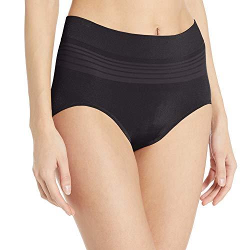 Warner's Women's No Pinching No Problems Seamless Brief Panty, Rich Black, XL