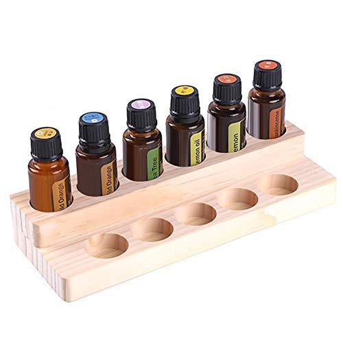 Earthily Ätherisches Öl Display Ständer - 11 Löcher Ätherisches Öl Box aus Holz,Ätherische Öle Flaschen Aufbewahrung Display Regal für 15ml Ätherische Öle, Nagellack, Lippenstift