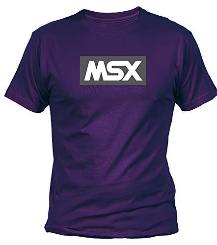 Camisetas EGB Camiseta Adulto/niño MSX ochenteras 80´s Retro (Morado, XL)