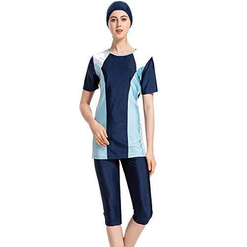 CaptainSwim Neue Muslimische Badebekleidung für Frauen Mädchen Vollständige Abdeckung Burkini Badeanzug Set Islamischer Hijab Bescheiden Strandkleidung Schwimmen Passen Kostüm (L, Blau)