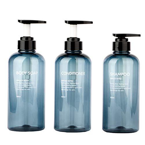 Yeeco Shampoo Dispenser Bottles 16.9oz/500ml, 3 PCS Plastic Empty Pump Bottle Refillable Pump Lotion Bottle Set for Body Soap Shampoo Conditioner Dispenser with Pump-Blue
