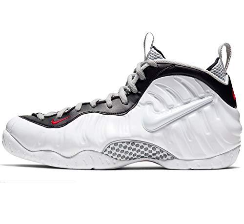 Nike Herren Air Foamposite Pro Basketballschuh, weiß/weiß-schwarz-universitätsrot, 41 EU