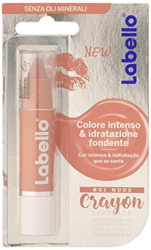 Labello Crayon Balsamo Labbra Colorato Nude, 1 Lipstick, Matitone Labbra Colora e Idrata, Senza Oli Minerali e Parabeni