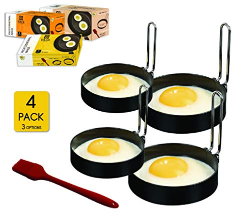 YAGITools Egg Rings Mold Set of 4 Round Egg Rings for Egg McMuffins  Rust amp Leak proof Egg Rings for Frying Eggs  Egg Molds with Foldable Handles  Silicone Basting Brush 2x3 Inch  2x35 Inch