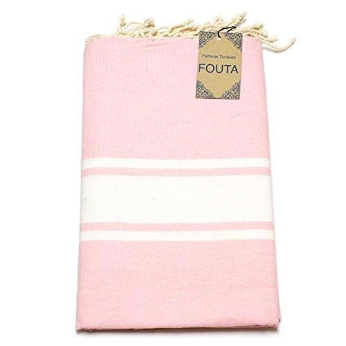 ANNA ANIQ Premium Fouta Hamamtuch Sauna-Tuch XXL Extra Groß 197 x 100cm - 100% Baumwolle aus Tunesien als Strand-Tuch, orientalisches Bade-Tuch, Picknick, Yoga, Schal, Pestemal (Hellrosa)