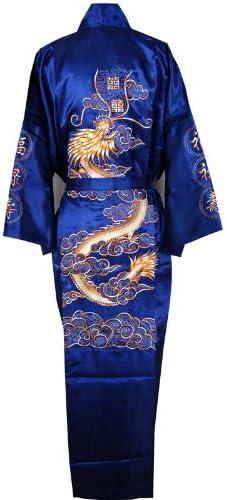 Shanghai Tone Dragon Bathrobe Bedgown Robe Navy Blue One Size
