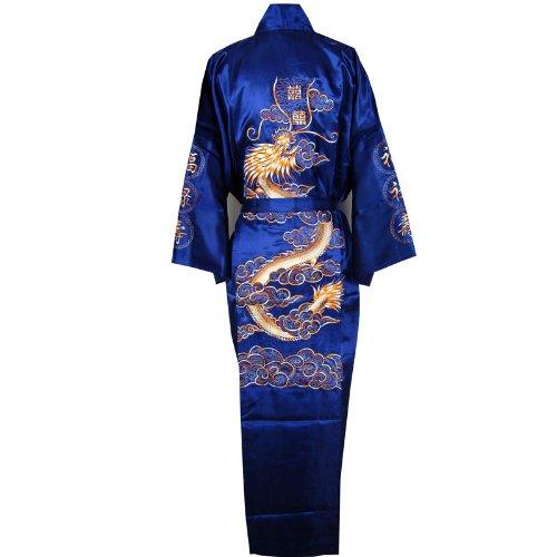 Negligee Kimono Stickerei Dunkelblau Einheitsgröße