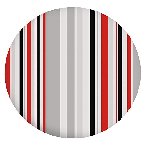 """Stain Resistant Elastic Edged Table Cloth,Stripes in Different Sizes Retro Style Digital Abstract Lines Old Fashioned Decorative Table Cover,Fits Round Tables 49-55"""",for Holiday Home Christmas Party P"""