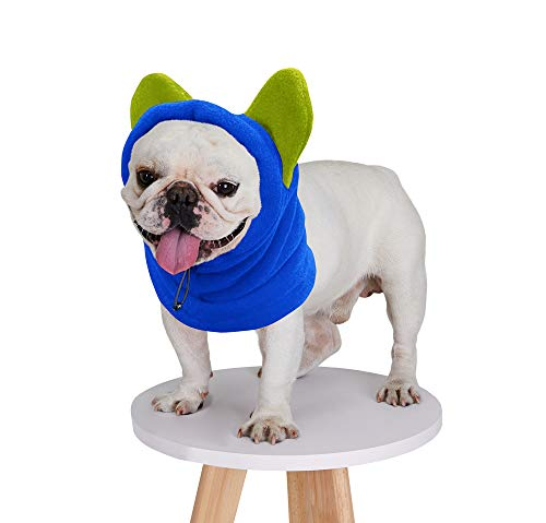 BZB Cute Dog's Fleece Hat That Keeps Ears Warm French Bulldogs Autumn Winter Soft Adjustable Bat Hat Pet Supplies Accessories (Medium,Blue)