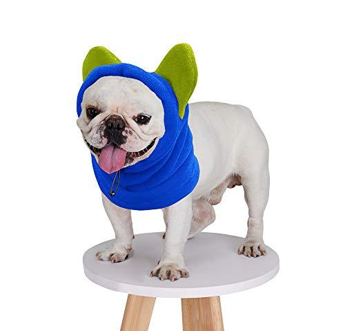 BZB Cute Dog's Fleece Hat That Keeps Ears Warm French Bulldogs Autumn Winter Soft Adjustable Bat Hat Pet Supplies Accessories (Large,Blue)