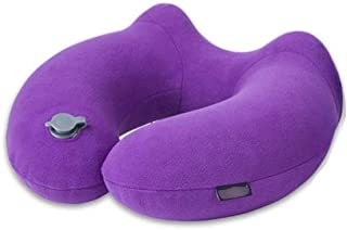 Inflatable Pillow U-Shaped Pillow Portable Travel Neck Pillow Flying Pillow Care Shoulder and Neck CQOZ (Color : Purple)