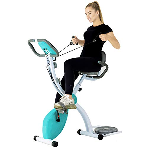 Murtisol X-Bike Heimtrainer Sport Fitnessfahrrad klappbar für zuhause mit Taillendreher und Armlehnenwiderstandsband, multifunktionaler DREI-in-Eins-Stepper