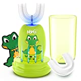 NOHOO Kids U Shape Whole Mouth Electric Toothbrush Toddler Electric Toothbrushes, Wireless Rechargeable Ultrasonic Electric Toothbrush, IPX7 Waterproof, 3 Modes (2~6 Years Old, Green)