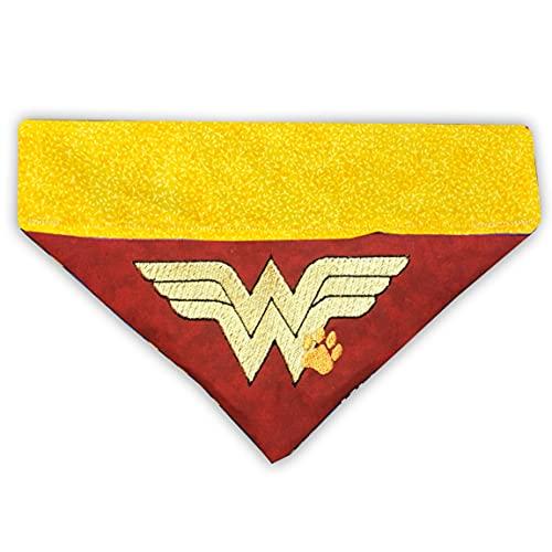 Wonder Woman Bandana/Over the Collar Dog Bandana/Embroidered Personalized Dog Bandana (All Sizes)