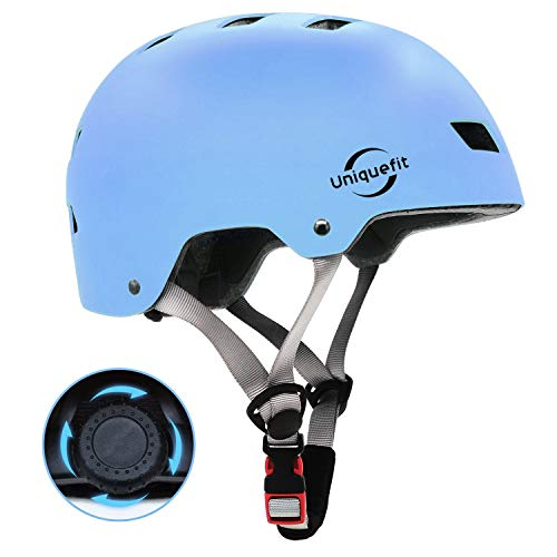 UniqueFit Kids&Adult Helmet Adjustable Protective Helmet for Scooter Cycling Roller Skate,CPSC&ASTM Certified Helmet (Light Blue, Large:58-61cm/22.8'-24.0')