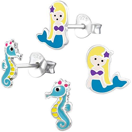 2 Paar JAYARE Kinder Ohrstecker Seepferdchen und Meerjungfrau 925 Sterling Silber Emaille Mädchen Ohrringe