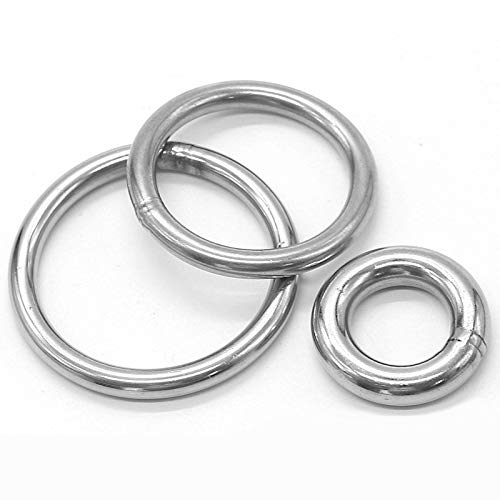 FFLSDR 304 Stainless Steel Buckles Loop Welding Wire Loop Circular Ring O-type Chain Link Hooks For Hanging Tent/Jump Bed/Yoga Hammock (Color : M5x70)