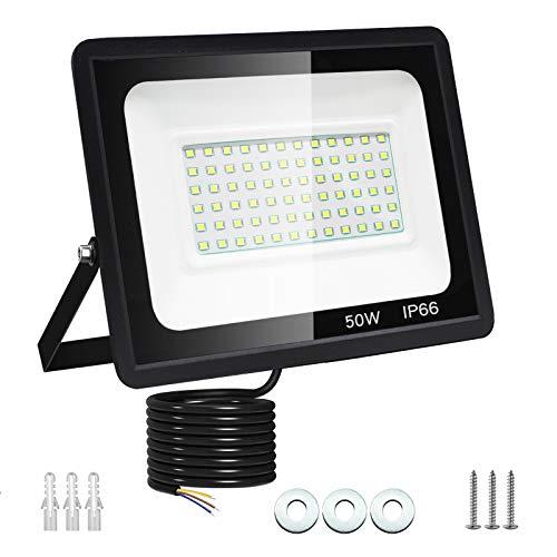 50W Faretto LED da Esterno Dersoy Proiettore 5000 lumen Faro LED, Bianco Freddo 6000K Fari LED Moda, Impermeabile IP66 Lampada Luce di Sicurezza Potente Super Luminosa per Giardino Corridoio Cortile