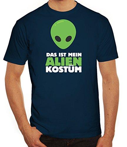 ShirtStreet Fasching Karneval Herren T-Shirt mit Das ist Mein Alien Kostüm 2 Motiv, Größe: XXL,dunkelblau