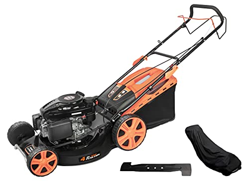 LAGINZA 196CC 21INCH 4-in-1 Self-Propelled Gas Powered Lawn Mower with Bagger Powered by Loncin Extra Cover and Blade