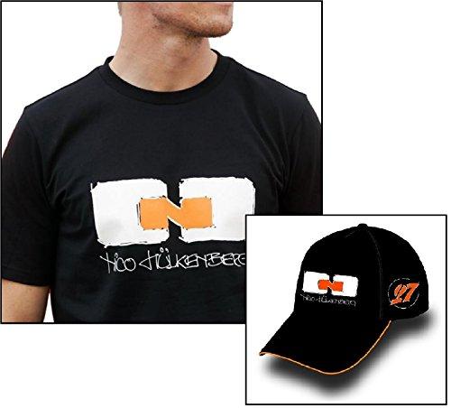T-Shirt und Kappe Sahara Force India F1 Team Driver Nico Hulkenberg Schwarz, Herren, schwarz, Large