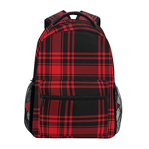 DXG1 Rucksack kariert rot schwarz Damen Herren Teenager Mädchen Jungen Schultasche Büchertasche Casual Geldbörse Daypack Supplies