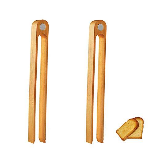 Pince à Pain En Bambou Pince Pain Long Et Facile Pince Grille PainPince à Toast En Bambou Pinces Pince à Bacon Bambou Outil Pince Pour Micro Paysage Jardinage Pain Grillades Cuisines 2 PièCes