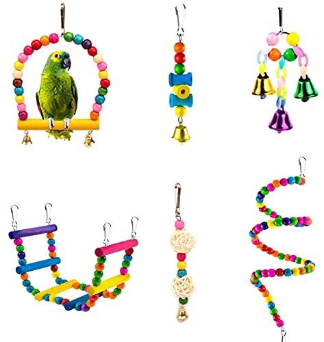 EACHPT Juguetes de Loro Pájaros Juego De Combinación De 6 Piezas De Loros Juguete para Pájaros Juguetes para Masticar Loros Escaleras para Casas De Pájaros para Conejos Pájaro Hámster Jerbo