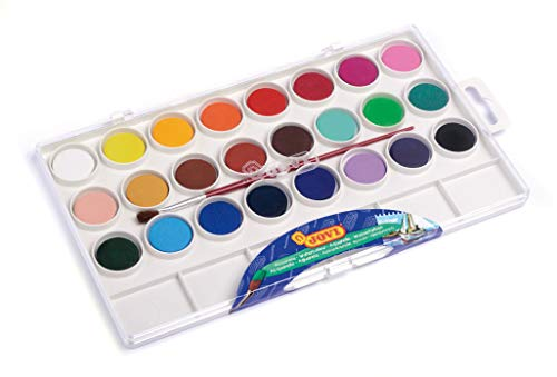Jovi Watercolor Paint Set; Box of 24 with Brush