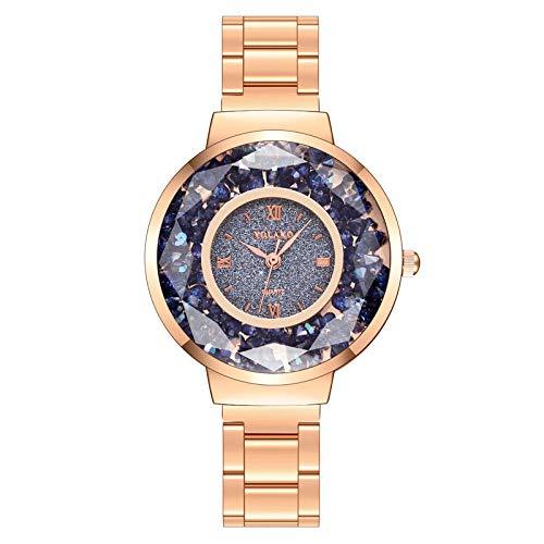 Powzz ornament - Orologio da donna alla moda con diamanti e brillantini, Blue Disk - Cintura in oro rosa