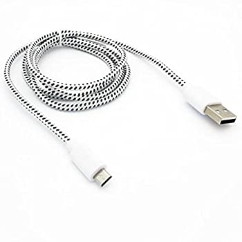 White Braided 10ft Long USB Cable Rapid Charger Sync Wire Durable Data Sync Cord Micro-USB for Sprint Samsung Galaxy Grand Prime - Sprint Samsung Galaxy J3 Emerge - Sprint Samsung Galaxy J7 Perx