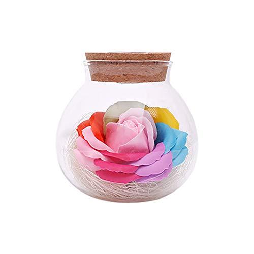 Andouy Blumenduftend Seifen Rose Badeseife mit LED-Licht Gehobenes Geschenk zum Geburtstag, Jubiläum, Valentinstag, Erntedankfest(10x11cm.Rosa)
