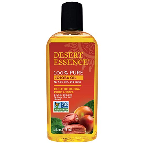 Desert Essence 100% Pure Jojoba Oil - 4 Fl Ounce - Haircare \u0026amp; Skincare Essential Oil - Suitable For All Skin Types - No Oily Residue - May Help Prevent Flakiness - Makeup Removal - Aftershave