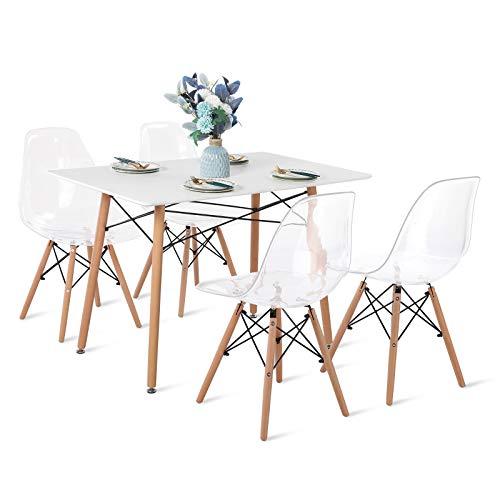 H.J WeDoo Essgruppe mit Esstisch und 4 Essstühlen, Moderner Rechteckig Tisch mit 4 Transparenter Skandinavisch Stühle für Esszimmer, Küche & Wohnzimmer