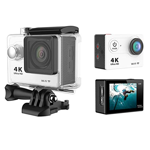 LYHLYH EIS Action Camera 4K H9 Camera for WiFi Sports 170°Wide-Angle 30M Waterproof with Remote Control Adapter USB Charging and Accessories Kit,z