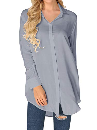 ZANZEA Vestido Camisero de Mujer Tops sólidos de Manga Larga Blusa Cuello Abotonado Vestido Informal Blusa Camiseta Vestidos Gris EU 44