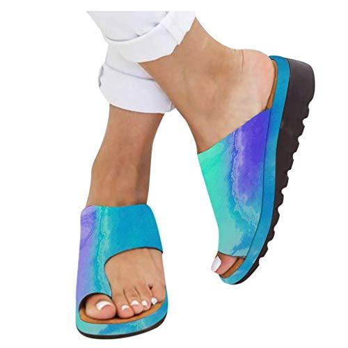 AMYGG Zapatillas de Mujer Vintage Zapatos de Punta Abierta Sandalias de Estilo de Tanga Confort Ortopédicas Originales, Zapatillas Planas de Mujer Chanclas con Punta de Clip de Playa de Verano 37 I