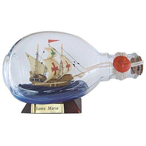 linoows Buddelschiff Santa Maria, in Einer Dimple Flasche, Flaschenschiff 15 cm