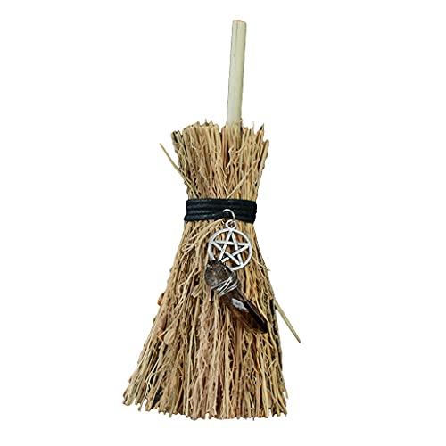 Wicca Witch Mini escoba colgante Lwb022-JIUYECAO con estrella de cinco puntas de cristal marrón Mini escoba de paja con decoraciones colgantes de cristal para Halloween