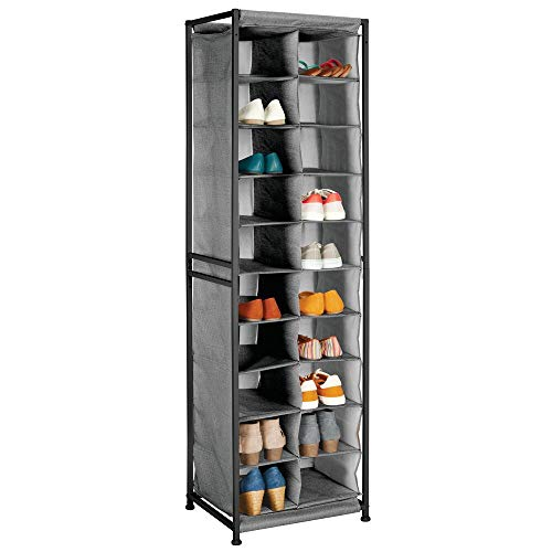mDesign Vertical Fabric and Metal Standing Shoe Tower Rack & Organizer - 10-Tier Shoe Stand - Holds 20 Pairs of Mens, Womens and Kids Shoes, Easy Assembly - Closet Organization - Charcoal Gray