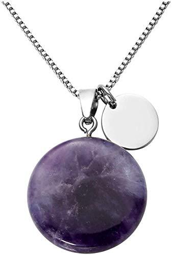 ketting met natuurlijke amethist hanger halsketting, Reiki energiekristallen sieraden voor vrouwen, meisjes, rond