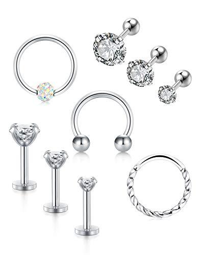 LAURITAMI 9-12stk Cartilage Stecker Ohrringe Set Chirurgenstahl 16G 6/8/10mm Helix Tragus Hufeisen Septum Ring Piercing
