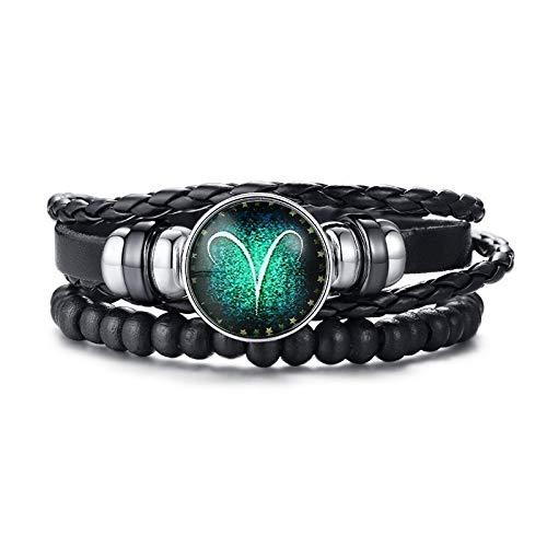Ram 12 Horoscoop Meerlaagse Lederen Touw Armbanden Voor Mannen Vrouwen Geschenken Vintage Sieraden
