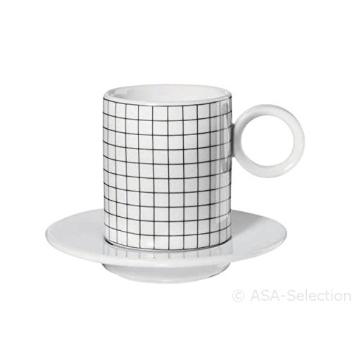 ASA 16011038 Memphis Espressotassen mit Untertassen - Squares - 0,1l - Ø 5,5 cm - Höhe 6,3 cm - 4-teilig
