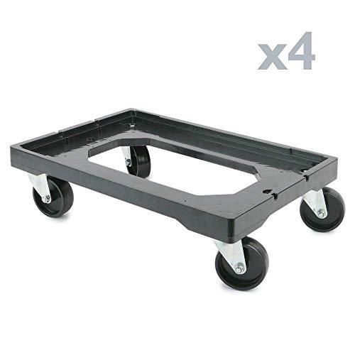 PrimeMatik - Platform met wielen voor het transport van dozen eurobox 60 x 40 cm 4-PACK